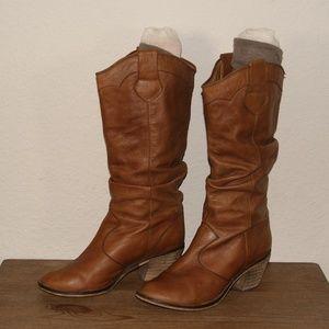 STEVE MADDEN Leather Scrunch Knee High Boot sz 8